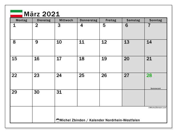 Kalender März 2021, mit den Feiertagen in Nordrhein-Westfalen. Kalender mit Feiertagen zum kostenlosen ausdrucken.