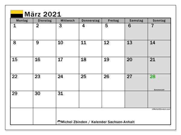 Kalender März 2021, mit den Feiertagen in Sachsen-Anhalt. Kalender mit Feiertagen zum kostenlosen ausdrucken.
