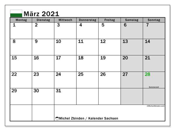 Kalender März 2021, mit den Feiertagen in Sachsen. Kalender mit Feiertagen zum kostenlosen ausdrucken.