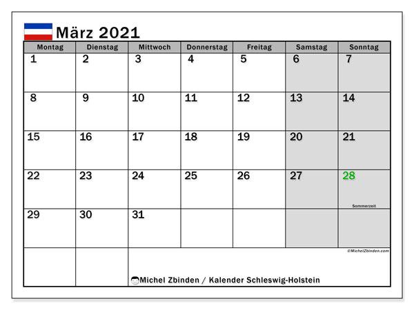 Kalender März 2021, mit den Feiertagen in Schleswig-Holstein. Kalender mit Feiertagen zum kostenlosen ausdrucken.