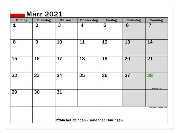 Kalender März 2021, mit den Feiertagen in Thüringen. Kalender Feiertage frei zum ausdrucken.