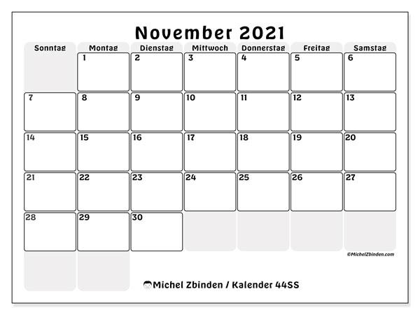 Kalender November 2021, 44SS. Monatskalender zum kostenlosen ausdrucken.