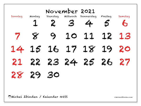 Kalender November 2021, 46SS. Monatlicher Kalender zum kostenlosen ausdrucken.
