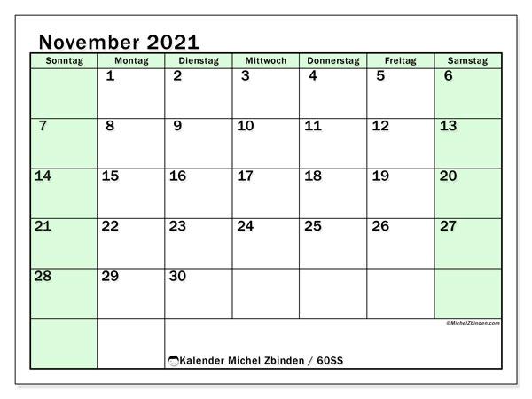 Kalender November 2021, 60SS. Kostenloser Kalender zum ausdrucken.