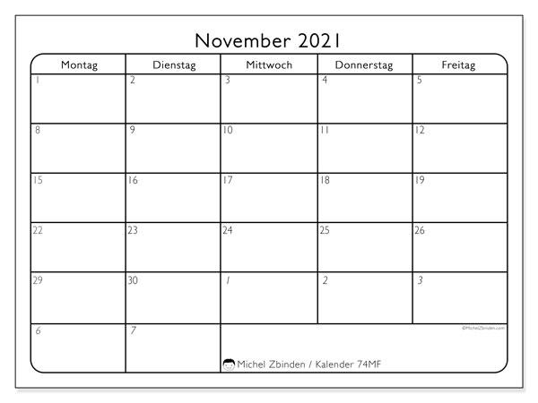 Kalender November 2021, 74MS. Monatlicher Zeitplan zum kostenlosen ausdrucken.