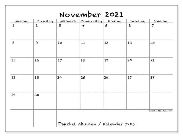 Kalender November 2021, 77MS. Kostenloser Zeitplan zum ausdrucken.