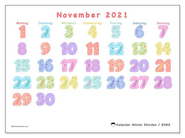 Kalender November 2021, 83MS. Zeitplan zum kostenlosen ausdrucken.