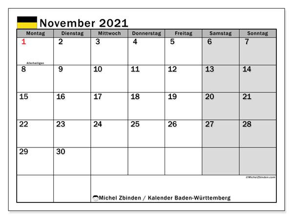 Kalender November 2021, mit den Feiertagen in Baden-Württemberg. Kalender Feiertage frei zum ausdrucken.