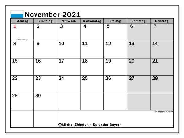 Kalender November 2021, mit den Feiertagen von Bayern. Kalender mit Feiertagen zum kostenlosen ausdrucken.
