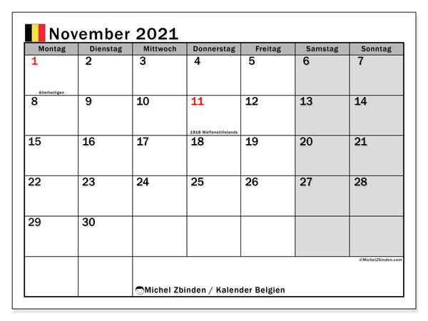 Kalender November 2021, mit den Feiertagen von Belgien. Kalender mit Feiertagen zum kostenlosen ausdrucken.