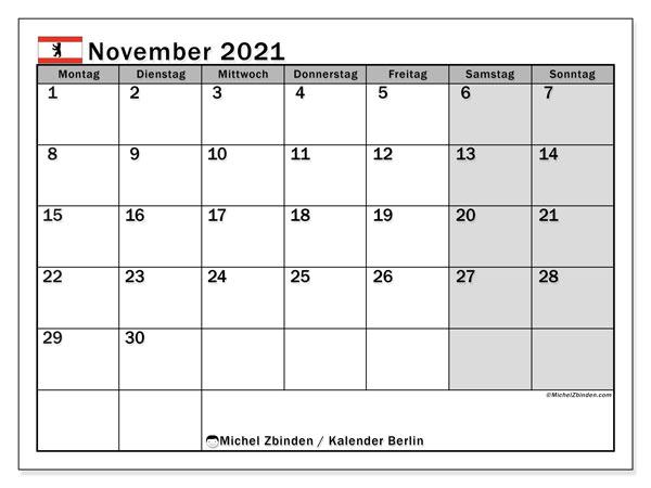 Kalender November 2021, mit den Feiertagen in Berlin. Kalender mit Feiertagen zum kostenlosen ausdrucken.