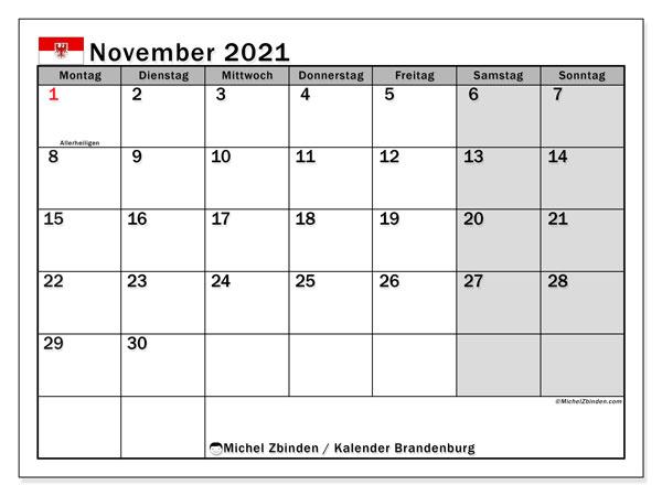 Kalender November 2021, mit den Feiertagen in Brandenburg. Kalender mit Feiertagen zum kostenlosen ausdrucken.