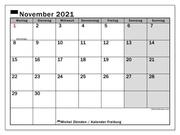 Kalender November 2021, mit den Feiertagen des Kantons Freiburg. Kalender Feiertage frei zum ausdrucken.