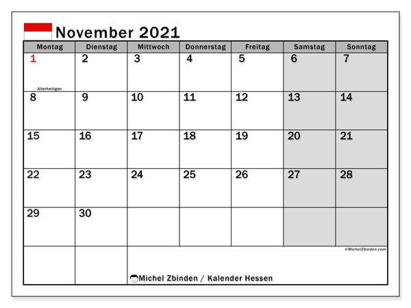 Kalender November 2021, mit den Feiertagen in Hessen. Kalender mit Feiertagen zum kostenlosen ausdrucken.