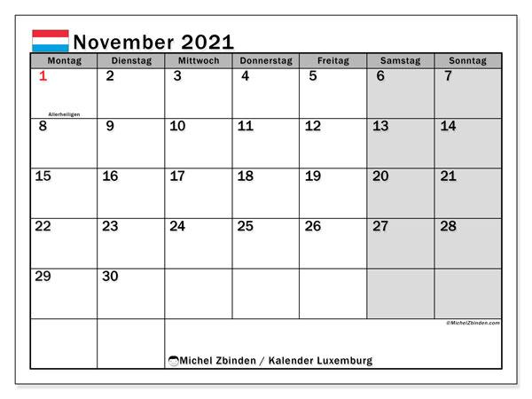 Kalender November 2021, mit den Feiertagen in Luxemburg. Kalender mit Feiertagen zum kostenlosen ausdrucken.