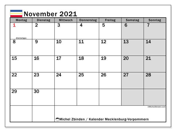 Kalender November 2021, mit den Feiertagen in Mecklenburg-Vorpommern. Kalender mit Feiertagen zum kostenlosen ausdrucken.