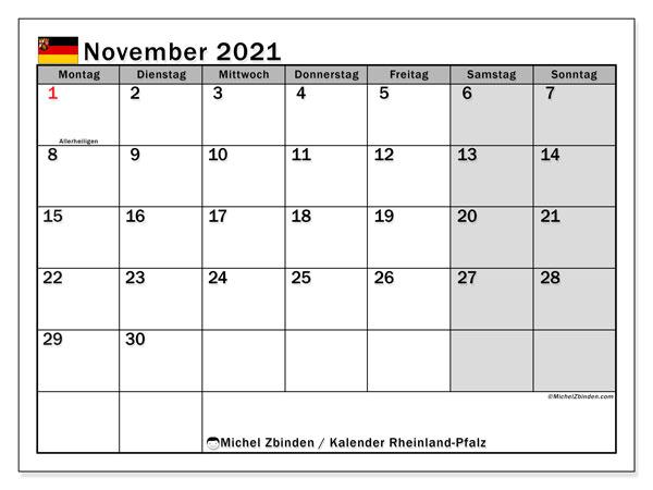 Kalender November 2021, mit den Feiertagen in Rheinland-Pfalz. Kalender Feiertage frei zum ausdrucken.