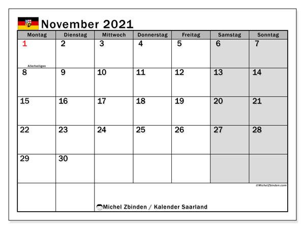 Kalender November 2021, mit den Feiertagen des Saarlandes. Kalender Feiertage frei zum ausdrucken.
