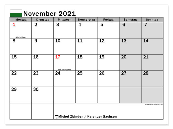 Kalender November 2021, mit den Feiertagen in Sachsen. Kalender mit Feiertagen zum kostenlosen ausdrucken.