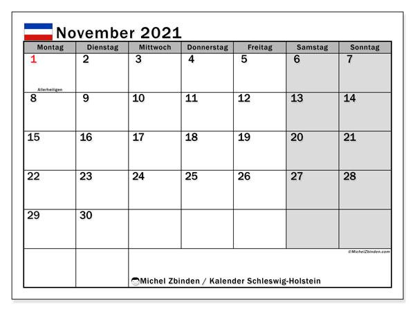 Kalender November 2021, mit den Feiertagen in Schleswig-Holstein. Kalender Feiertage frei zum ausdrucken.