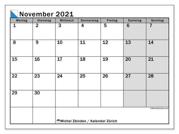 """Kalender """"Kanton Zürich"""" November 2021 zum ausdrucken ..."""