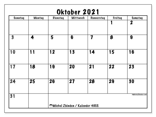 Kalender Oktober 2021, 48SS. Planer zum kostenlosen ausdrucken.