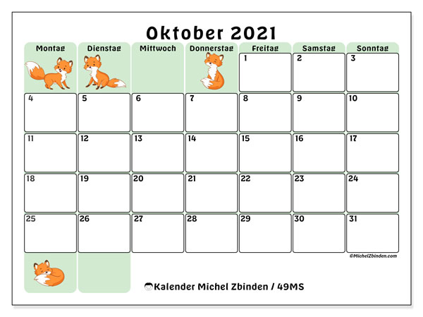 Kalender Oktober 2021, 49MS. Zeitplan zum kostenlosen ausdrucken.