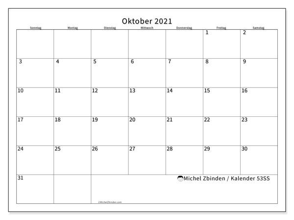 Kalender Oktober 2021, 53SS. Monatlicher Kalender zum kostenlosen ausdrucken.