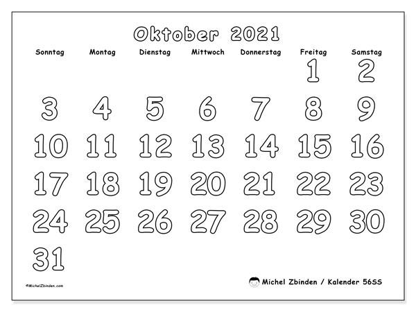 Kalender Oktober 2021, 56SS. Kostenloser Kalender zum ausdrucken.