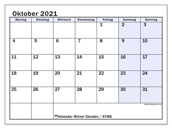 Kalender Oktober 2021, 57MS. Kostenloser Kalender zum ausdrucken.