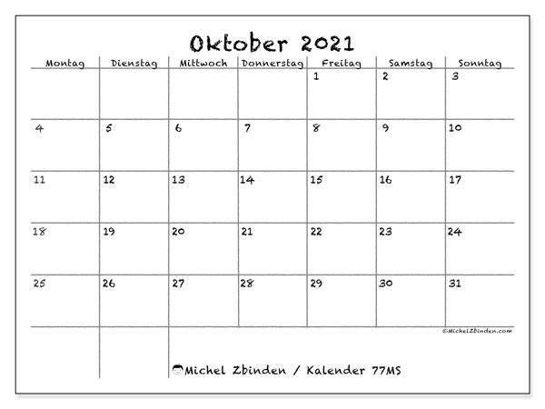 Kalender Oktober 2021, 77MS. Kostenlos ausdruckbare Zeitplan.