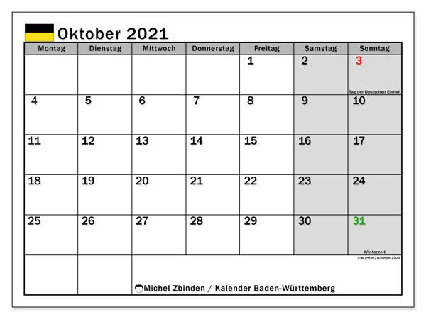 Kalender Oktober 2021, mit den Feiertagen in Baden-Württemberg. Kalender Feiertage frei zum ausdrucken.