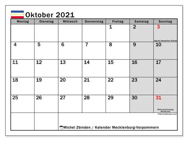 Kalender Oktober 2021, mit den Feiertagen in Mecklenburg-Vorpommern. Kalender mit Feiertagen zum kostenlosen ausdrucken.