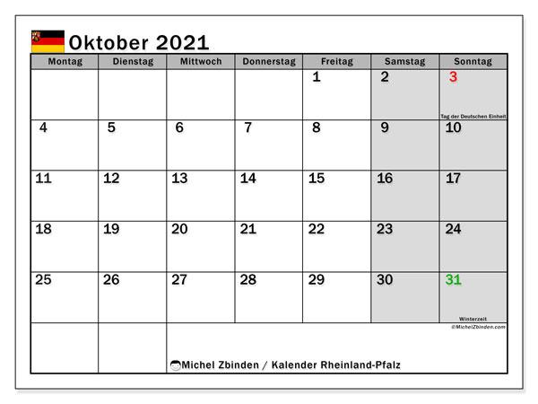 Kalender Oktober 2021, mit den Feiertagen in Rheinland-Pfalz. Kalender mit Feiertagen zum kostenlosen ausdrucken.