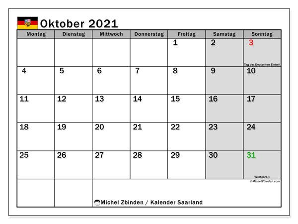 Kalender Oktober 2021, mit den Feiertagen des Saarlandes. Kalender Feiertage frei zum ausdrucken.