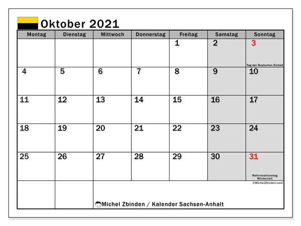 Kalender Oktober 2021, mit den Feiertagen in Sachsen-Anhalt. Kalender Feiertage frei zum ausdrucken.