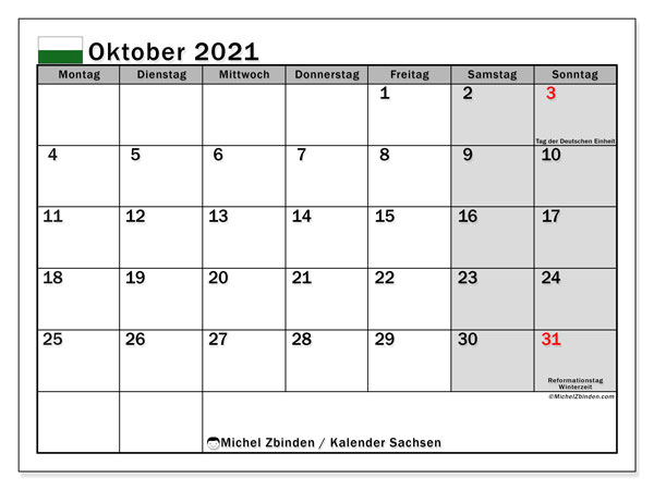 Kalender Oktober 2021, mit den Feiertagen in Sachsen. Kalender mit Feiertagen zum kostenlosen ausdrucken.