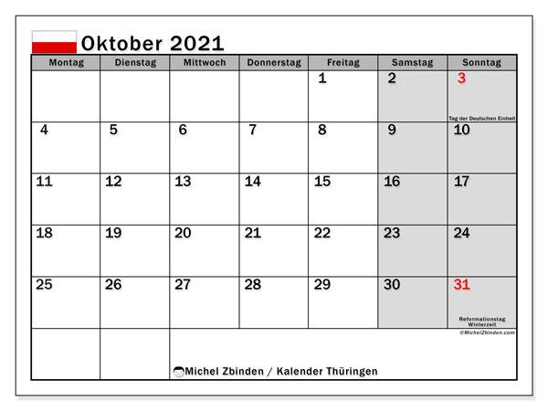 Kalender Oktober 2021, mit den Feiertagen in Thüringen. Kalender mit Feiertagen zum kostenlosen ausdrucken.
