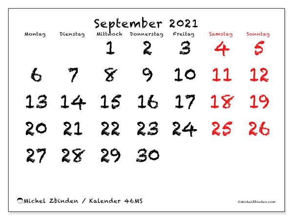 Kalender September 2021, 46MS. Monatlicher Kalender zum kostenlosen ausdrucken.
