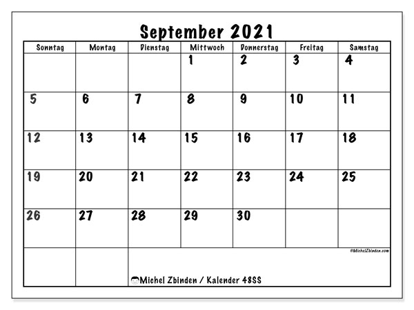 Kalender September 2021, 48SS. Planer zum kostenlosen ausdrucken.