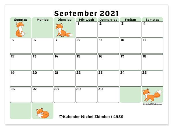 Kalender September 2021, 49SS. Monatlicher Kalender zum kostenlosen ausdrucken.