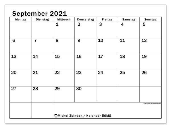 Kalender September 2021, 50MS. Kostenlos ausdruckbare Kalender.