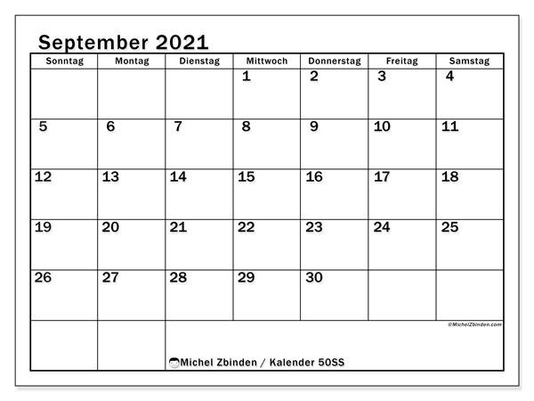 Kalender September 2021, 50SS. Kostenlos ausdruckbare Planer.