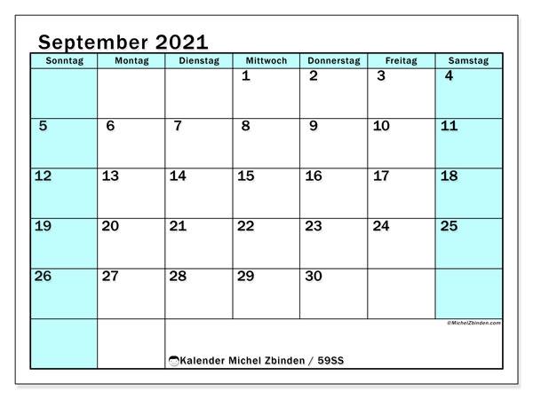 Kalender September 2021, 59SS. Monatskalender zum kostenlosen ausdrucken.