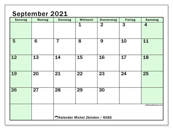 Kalender September 2021, 60SS. Planer zum kostenlosen ausdrucken.