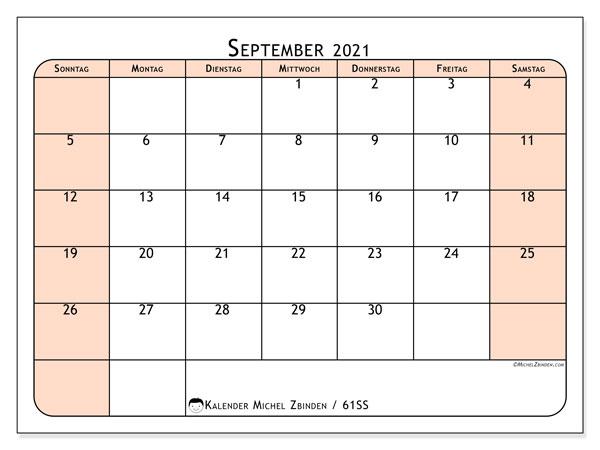 Kalender September 2021, 61SS. Kostenloser Zeitplan zum ausdrucken.