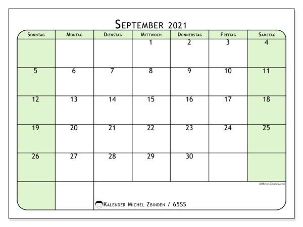 Kalender September 2021, 65SS. Kalender für den Monat zum kostenlosen ausdrucken.
