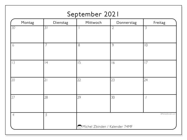 Kalender September 2021, 74SS. Monatlicher Kalender zum kostenlosen ausdrucken.