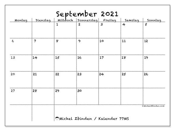 Kalender September 2021, 77MS. Monatlicher Zeitplan zum kostenlosen ausdrucken.