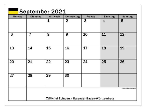 Kalender September 2021, mit den Feiertagen in Baden-Württemberg. Kalender Feiertage frei zum ausdrucken.